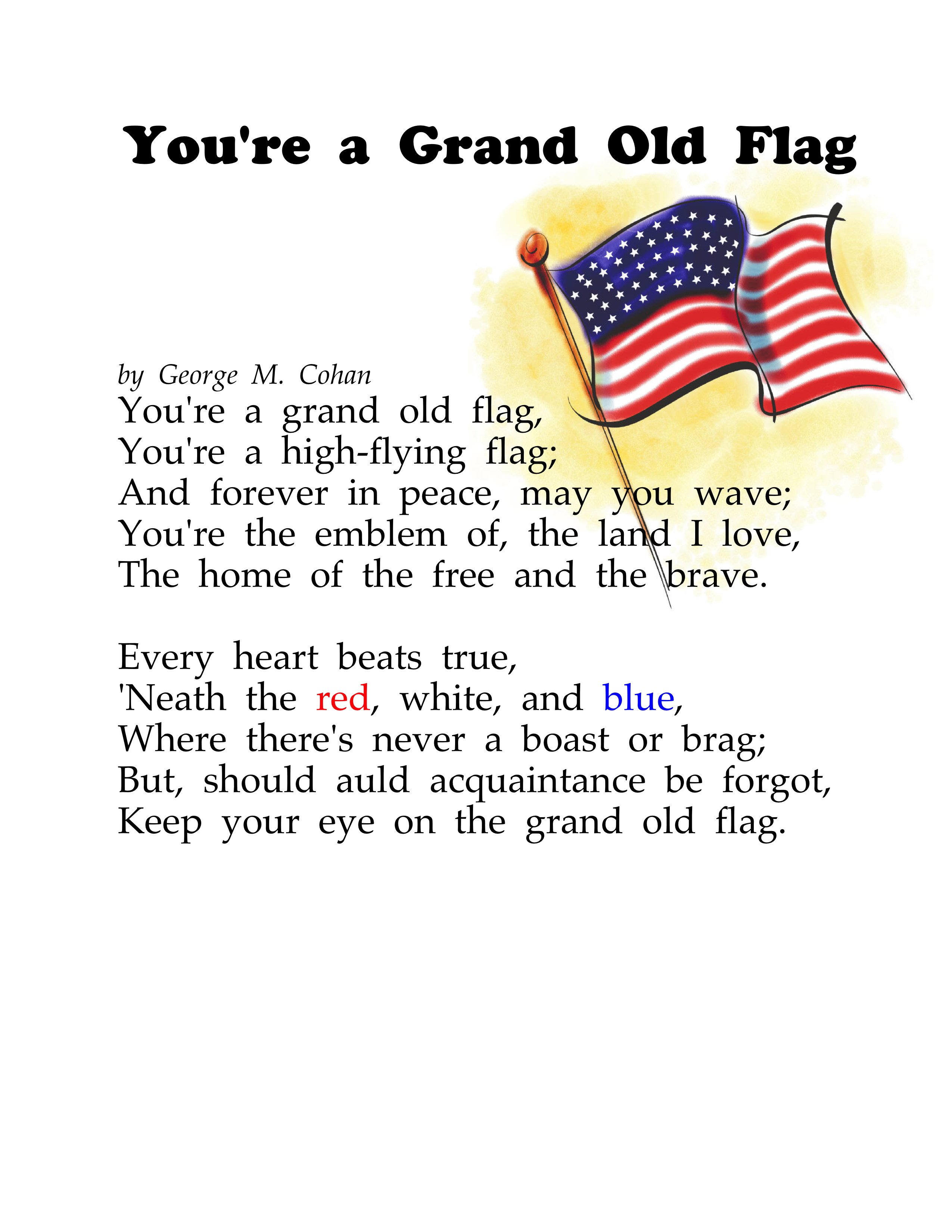 You're A Grand Old Flag 2016 Updated - Sing A Long For ...