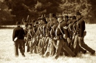 Union soldiers marching into battle