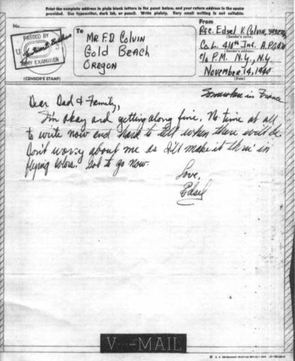 Dad's first letter after seeing combat on Nov. 11, 1944. This is the shortest letter he wrote during the whole war.