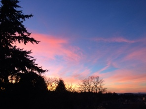 Pretty sunsets are easy to find these days. This is looking towards Mt. Tabor.